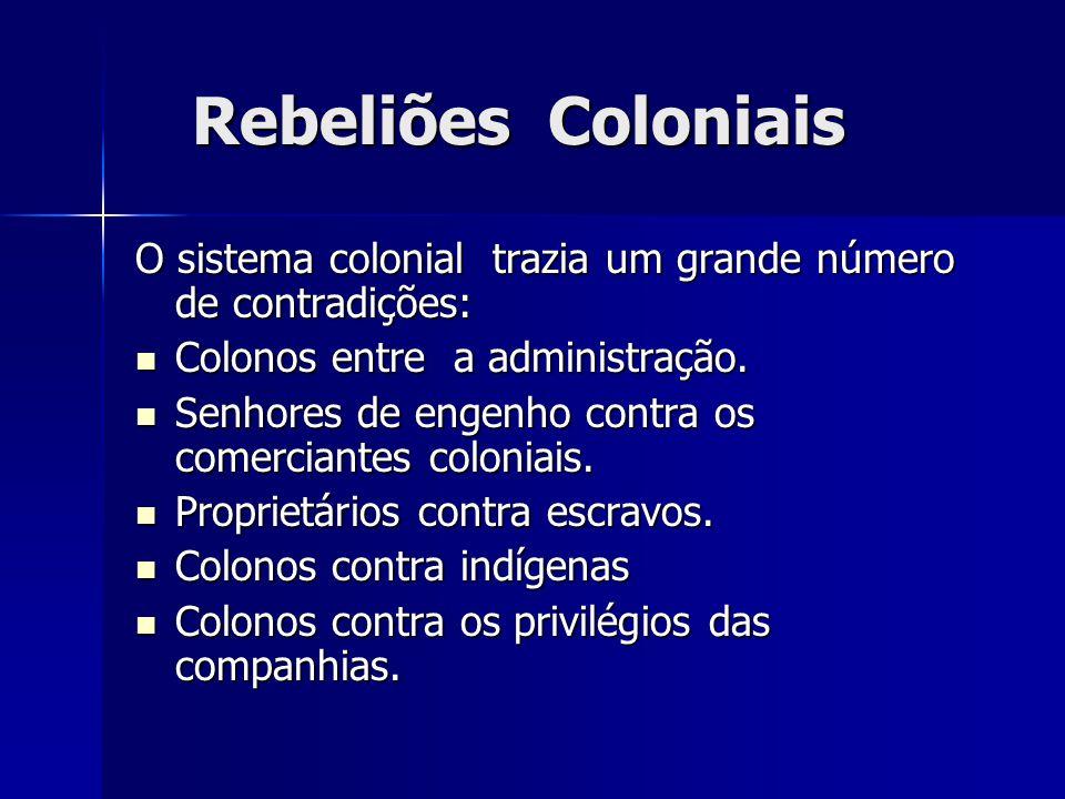 Rebeliões Coloniais Rebeliões Coloniais O sistema colonial trazia um grande número de contradições: Colonos entre a administração. Colonos entre a adm