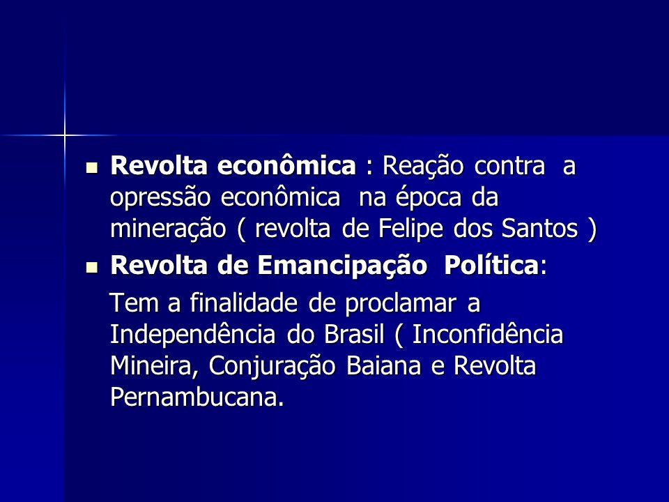 Revolta econômica : Reação contra a opressão econômica na época da mineração ( revolta de Felipe dos Santos ) Revolta econômica : Reação contra a opre