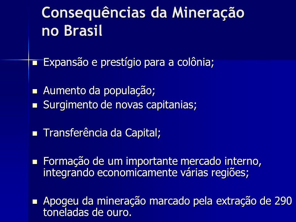 Consequências da Mineração no Brasil Expansão e prestígio para a colônia; Expansão e prestígio para a colônia; Aumento da população; Aumento da popula