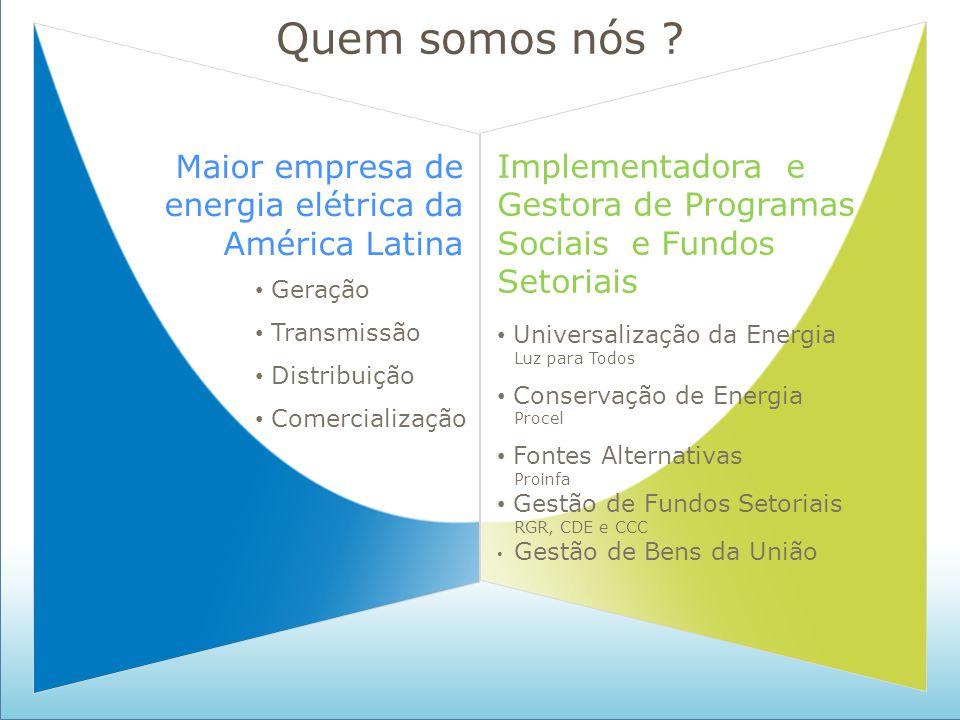 S/A Quem somos nós ? Maior empresa de energia elétrica da América Latina Implementadora e Gestora de Programas Sociais e Fundos Setoriais Geração Tran