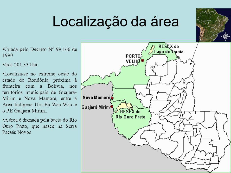 Localização da área Criada pelo Decreto N° 99.166 de 1990 área 201.334 há Localiza-se no extremo oeste do estado de Rondônia, próxima à fronteira com