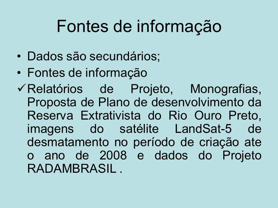 Fontes de informação Dados são secundários; Fontes de informação Relatórios de Projeto, Monografias, Proposta de Plano de desenvolvimento da Reserva E