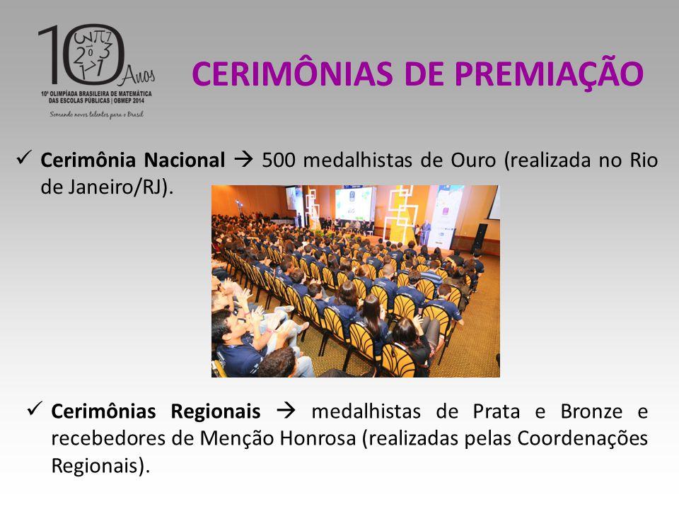 Cerimônia Nacional  500 medalhistas de Ouro (realizada no Rio de Janeiro/RJ).