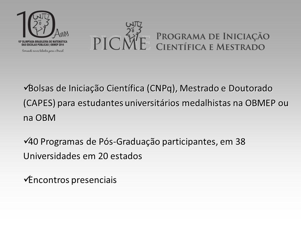 Bolsas de Iniciação Científica (CNPq), Mestrado e Doutorado (CAPES) para estudantes universitários medalhistas na OBMEP ou na OBM Bolsas de Iniciação Científica (CNPq), Mestrado e Doutorado (CAPES) para estudantes universitários medalhistas na OBMEP ou na OBM 40 Programas de Pós-Graduação participantes, em 38 Universidades em 20 estados 40 Programas de Pós-Graduação participantes, em 38 Universidades em 20 estados Encontros presenciais Encontros presenciais