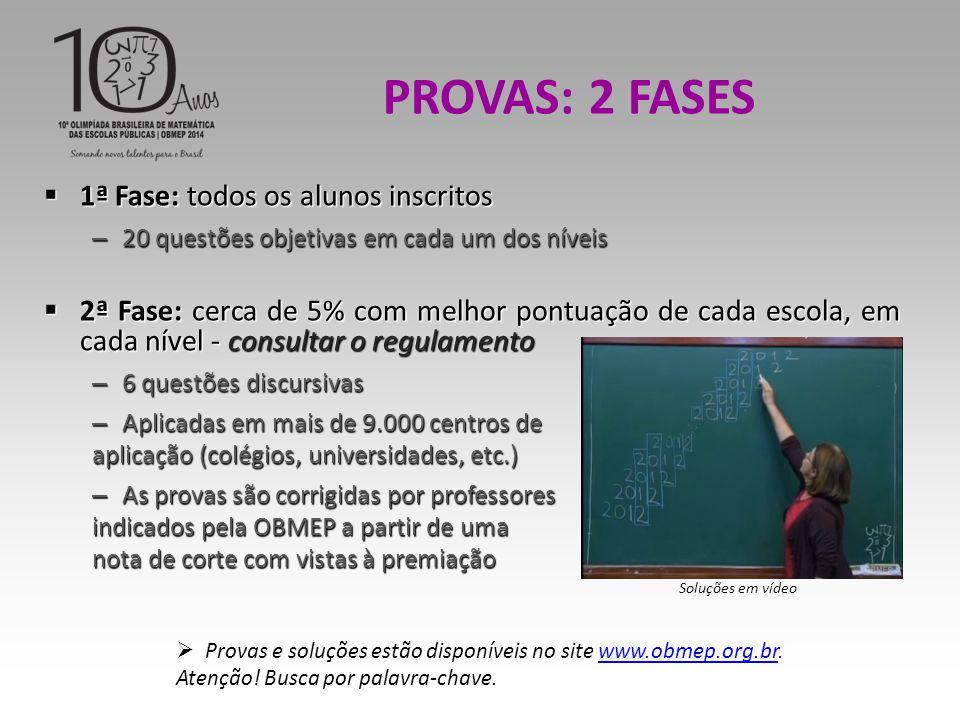  1ª Fase: todos os alunos inscritos – 20 questões objetivas em cada um dos níveis  2ª Fase: cerca de 5% com melhor pontuação de cada escola, em cada nível - consultar o regulamento – 6 questões discursivas – Aplicadas em mais de 9.000 centros de aplicação (colégios, universidades, etc.) – As provas são corrigidas por professores indicados pela OBMEP a partir de uma nota de corte com vistas à premiação PROVAS: 2 FASES  Provas e soluções estão disponíveis no site www.obmep.org.br.www.obmep.org.br Atenção.