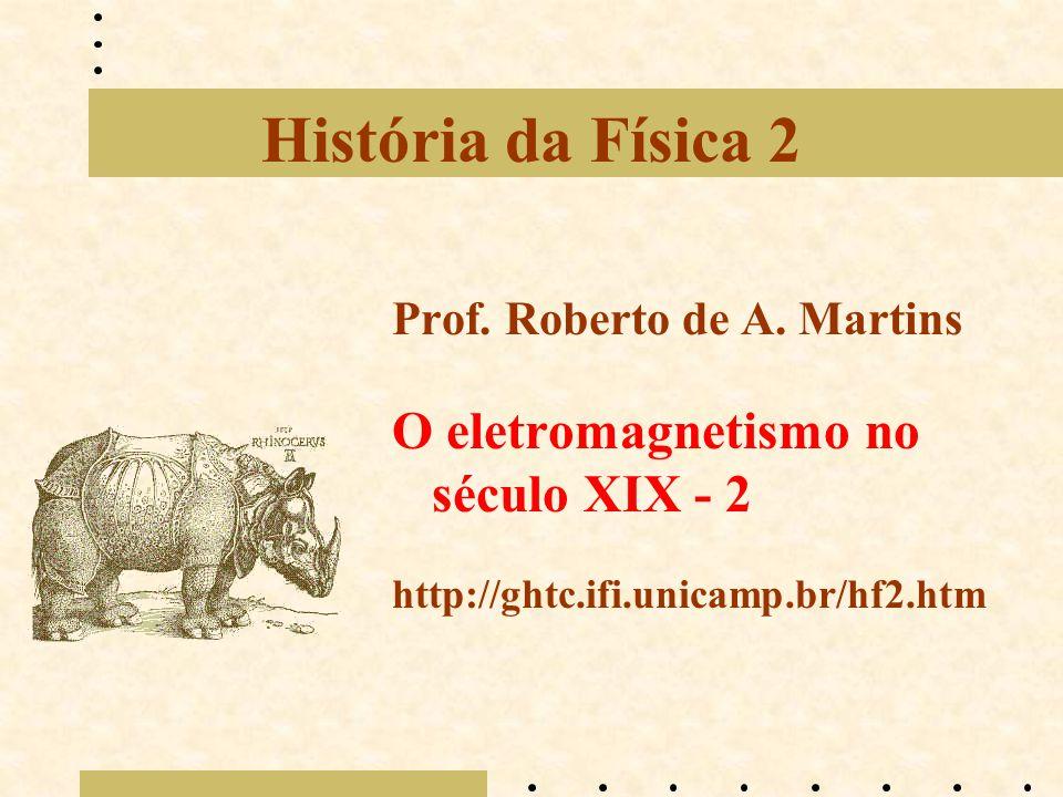 História da Física 2 Prof. Roberto de A. Martins O eletromagnetismo no século XIX - 2 http://ghtc.ifi.unicamp.br/hf2.htm