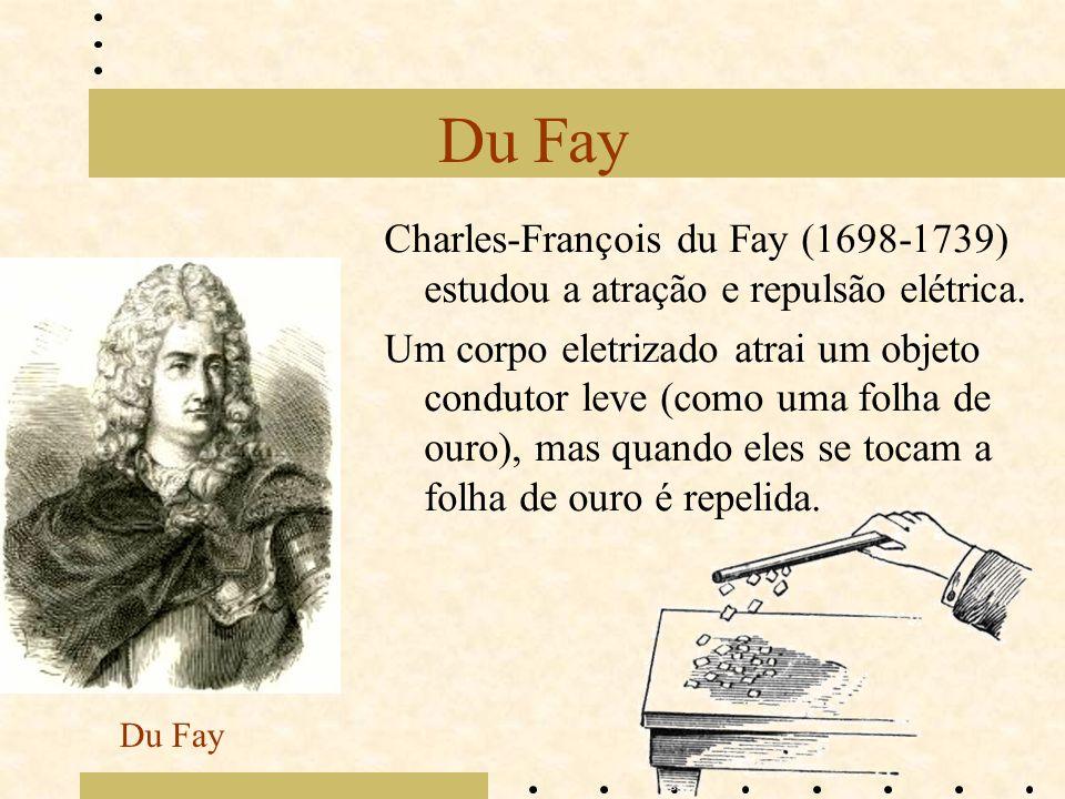 Du Fay Charles-François du Fay (1698-1739) estudou a atração e repulsão elétrica. Um corpo eletrizado atrai um objeto condutor leve (como uma folha de