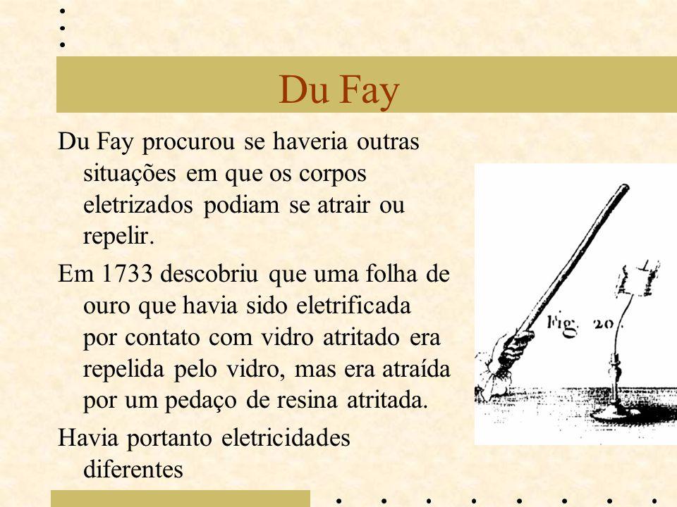 Du Fay Du Fay procurou se haveria outras situações em que os corpos eletrizados podiam se atrair ou repelir. Em 1733 descobriu que uma folha de ouro q