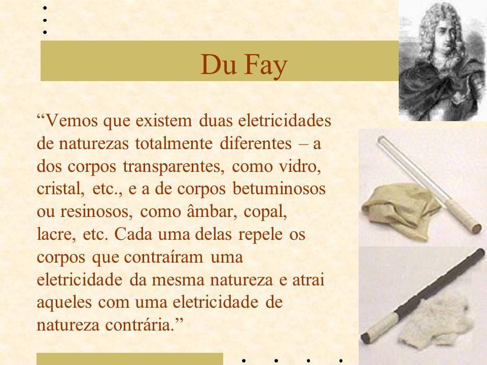 """Du Fay """"Vemos que existem duas eletricidades de naturezas totalmente diferentes – a dos corpos transparentes, como vidro, cristal, etc., e a de corpos"""