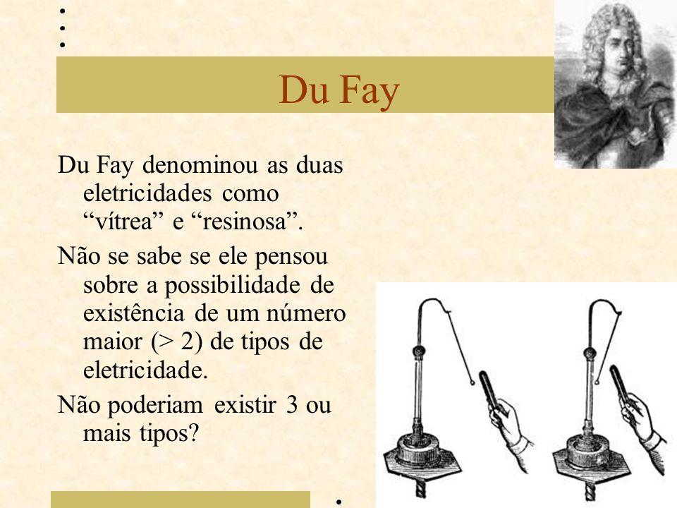 """Du Fay Du Fay denominou as duas eletricidades como """"vítrea"""" e """"resinosa"""". Não se sabe se ele pensou sobre a possibilidade de existência de um número m"""