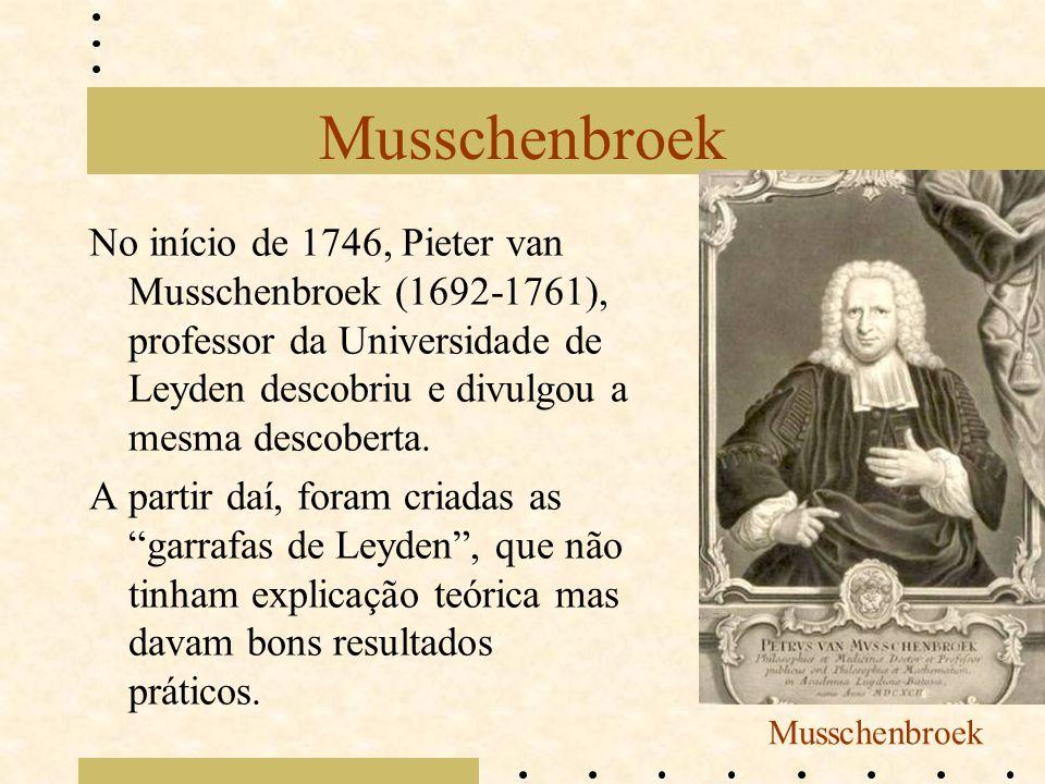 Musschenbroek No início de 1746, Pieter van Musschenbroek (1692-1761), professor da Universidade de Leyden descobriu e divulgou a mesma descoberta. A