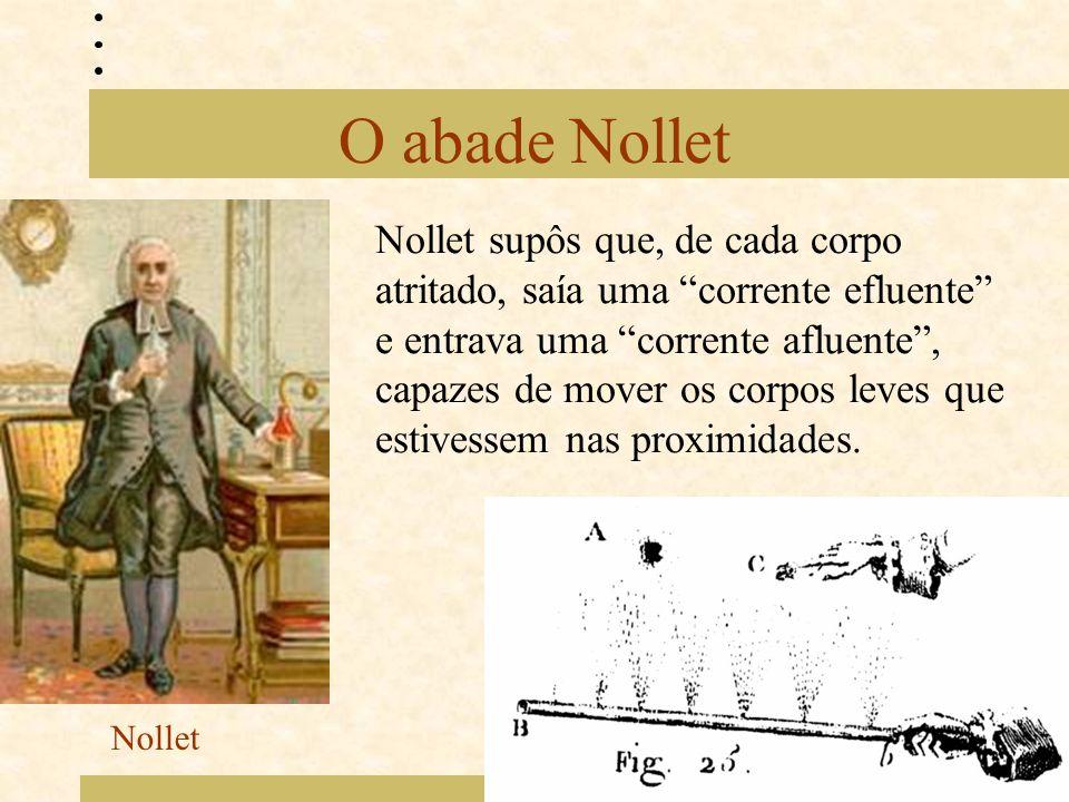 "O abade Nollet Nollet supôs que, de cada corpo atritado, saía uma ""corrente efluente"" e entrava uma ""corrente afluente"", capazes de mover os corpos le"