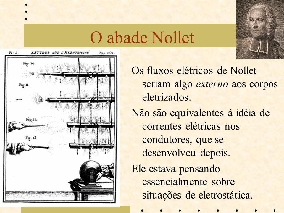 O abade Nollet Os fluxos elétricos de Nollet seriam algo externo aos corpos eletrizados. Não são equivalentes à idéia de correntes elétricas nos condu
