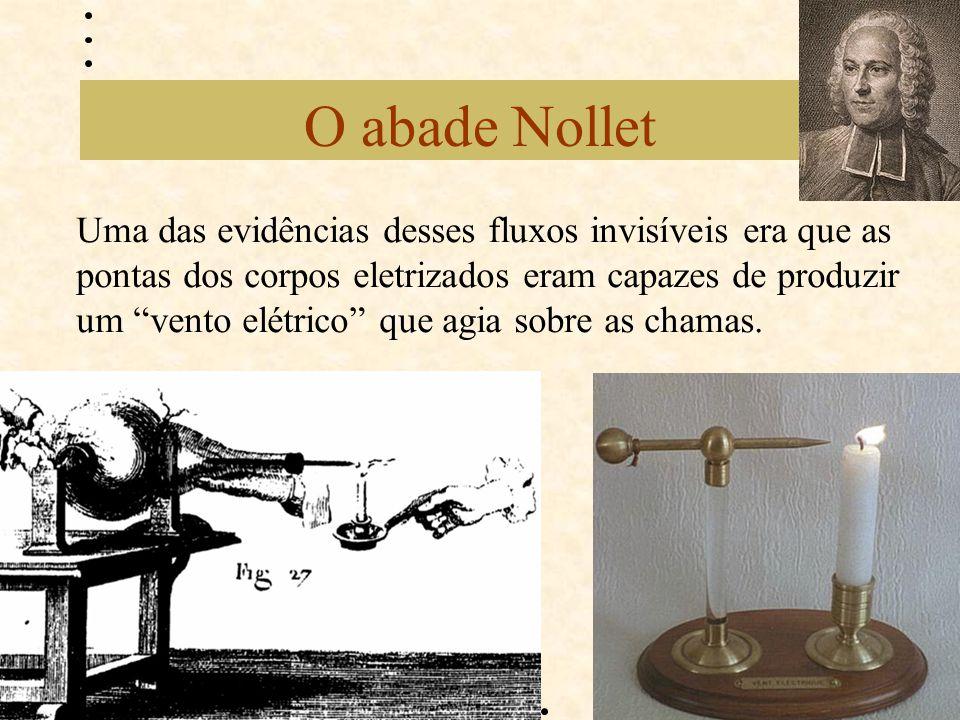 """O abade Nollet Uma das evidências desses fluxos invisíveis era que as pontas dos corpos eletrizados eram capazes de produzir um """"vento elétrico"""" que a"""