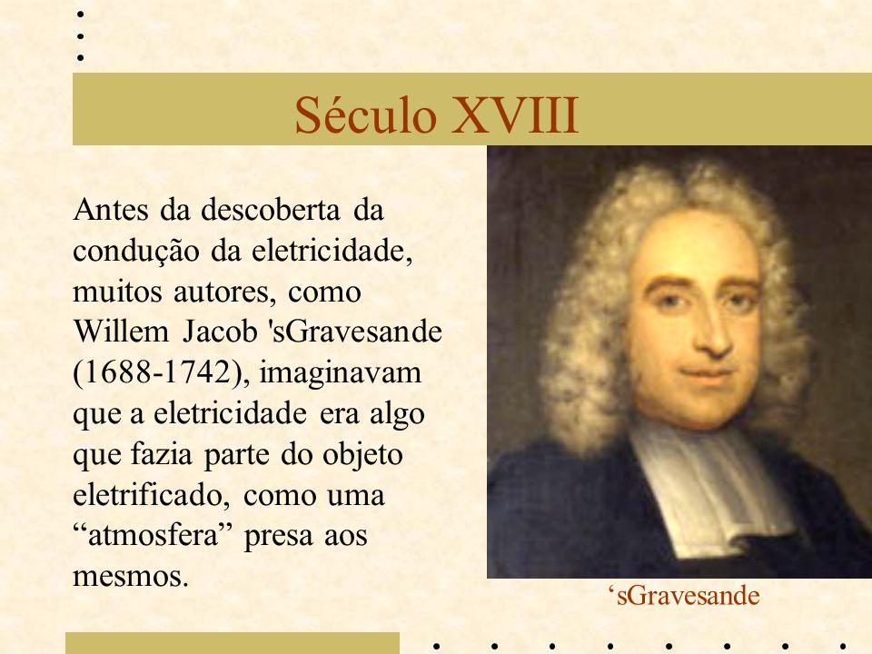 Século XVIII Antes da descoberta da condução da eletricidade, muitos autores, como Willem Jacob 'sGravesande (1688-1742), imaginavam que a eletricidad