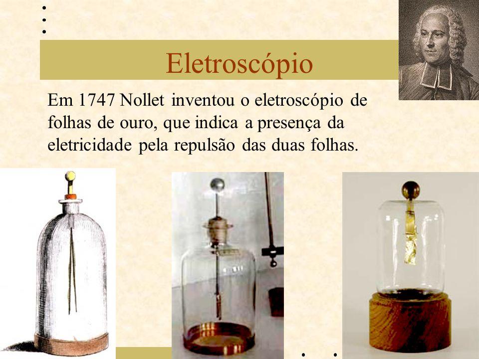 Eletroscópio Em 1747 Nollet inventou o eletroscópio de folhas de ouro, que indica a presença da eletricidade pela repulsão das duas folhas.