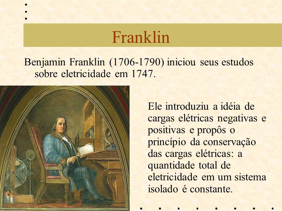 Franklin Benjamin Franklin (1706-1790) iniciou seus estudos sobre eletricidade em 1747. Ele introduziu a idéia de cargas elétricas negativas e positiv