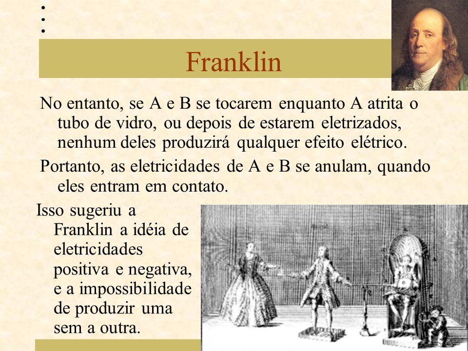 Franklin No entanto, se A e B se tocarem enquanto A atrita o tubo de vidro, ou depois de estarem eletrizados, nenhum deles produzirá qualquer efeito e