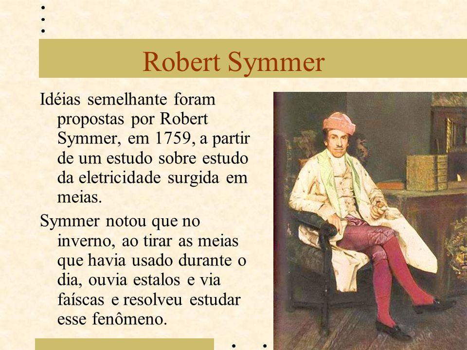 Robert Symmer Idéias semelhante foram propostas por Robert Symmer, em 1759, a partir de um estudo sobre estudo da eletricidade surgida em meias. Symme