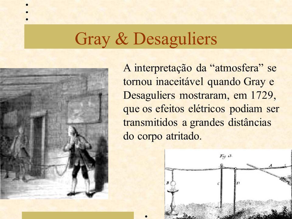 """Gray & Desaguliers A interpretação da """"atmosfera"""" se tornou inaceitável quando Gray e Desaguliers mostraram, em 1729, que os efeitos elétricos podiam"""