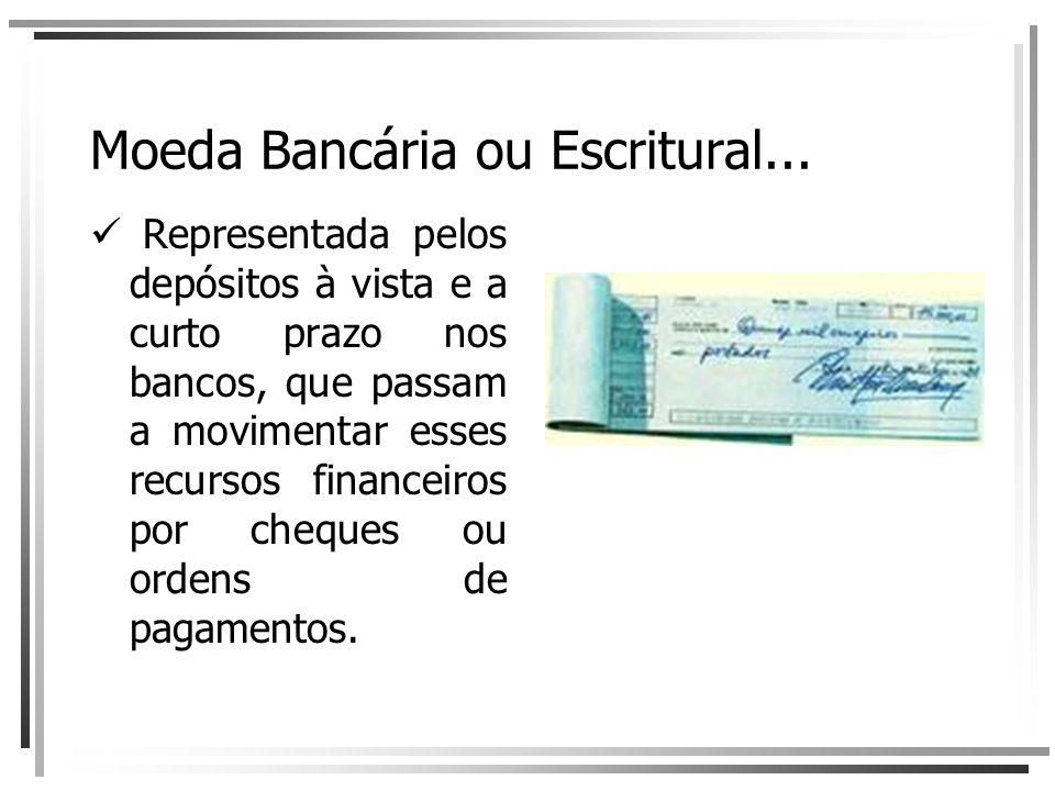 Moeda Bancária ou Escritural... Representada pelos depósitos à vista e a curto prazo nos bancos, que passam a movimentar esses recursos financeiros po