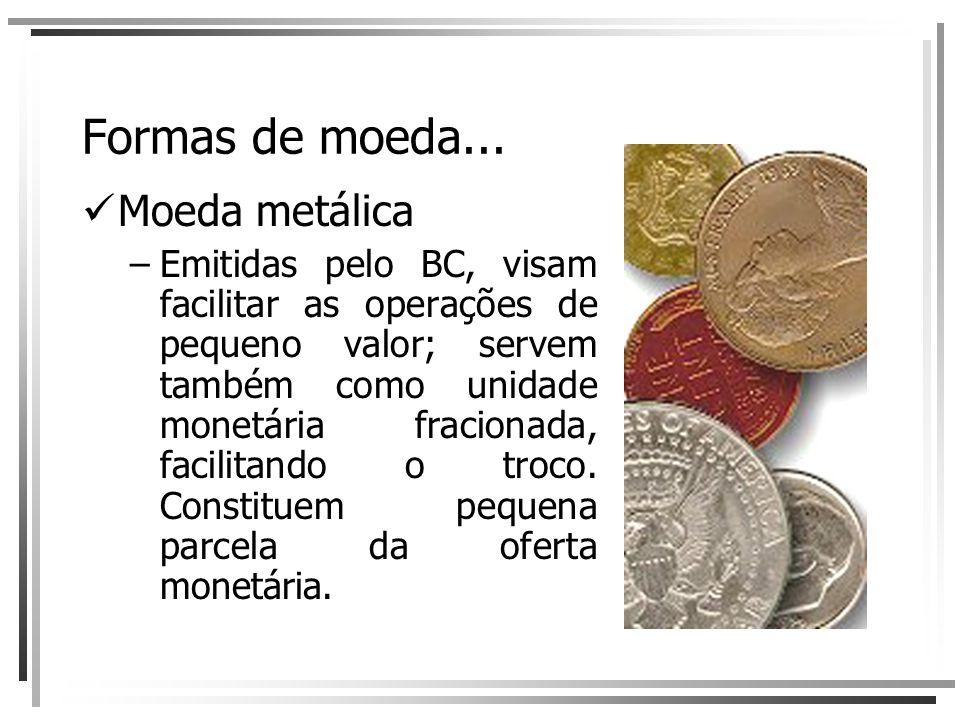 Formas de moeda... Moeda metálica –Emitidas pelo BC, visam facilitar as operações de pequeno valor; servem também como unidade monetária fracionada, f