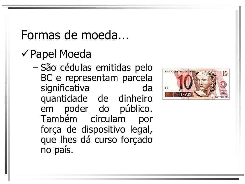 Formas de moeda... Papel Moeda –São cédulas emitidas pelo BC e representam parcela significativa da quantidade de dinheiro em poder do público. Também