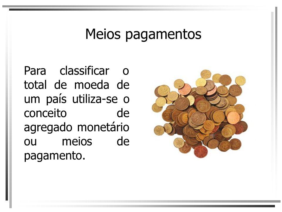Meios pagamentos Para classificar o total de moeda de um país utiliza-se o conceito de agregado monetário ou meios de pagamento.