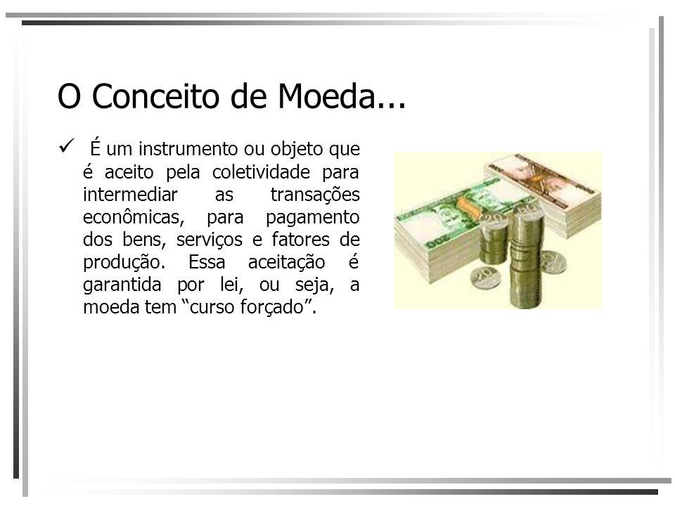 O Conceito de Moeda... É um instrumento ou objeto que é aceito pela coletividade para intermediar as transações econômicas, para pagamento dos bens, s