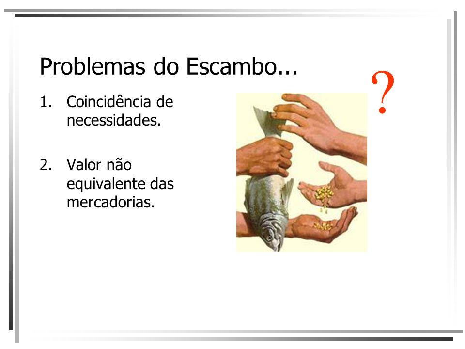Problemas do Escambo... 1.Coincidência de necessidades. 2.Valor não equivalente das mercadorias. ?