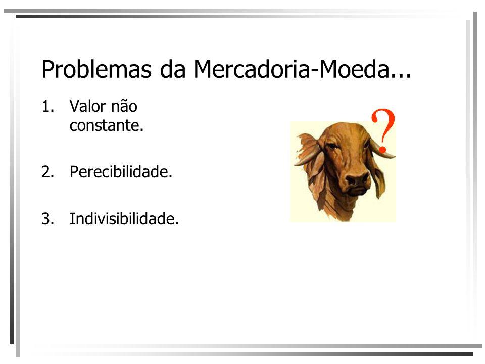 Problemas da Mercadoria-Moeda... 1.Valor não constante. 2.Perecibilidade. 3.Indivisibilidade. ?
