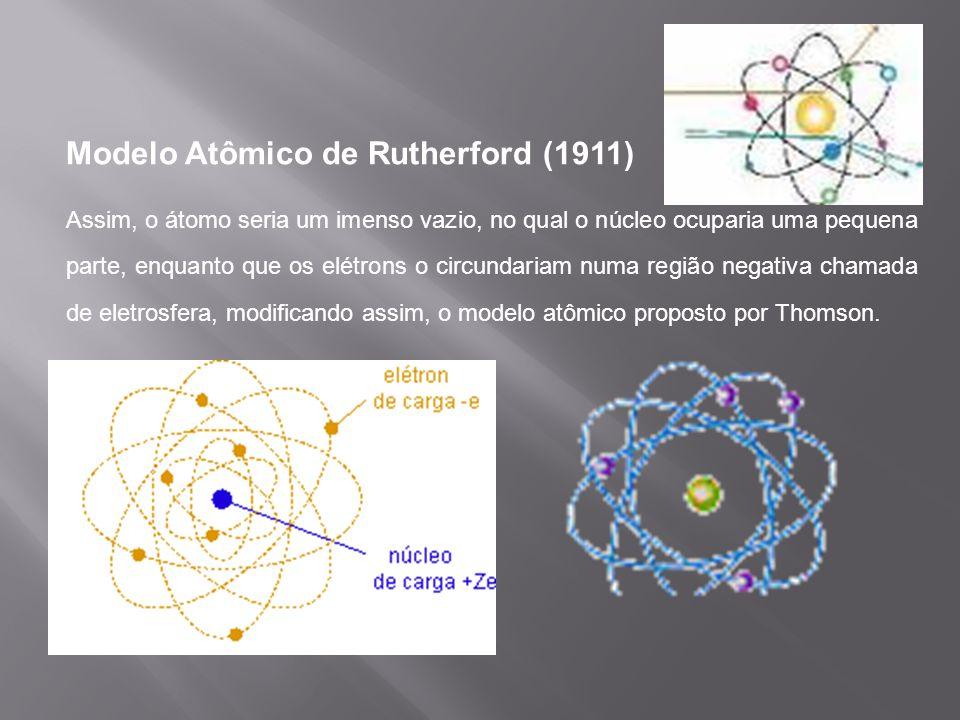 Modelo Atômico de Rutherford (1911) Assim, o átomo seria um imenso vazio, no qual o núcleo ocuparia uma pequena parte, enquanto que os elétrons o circ