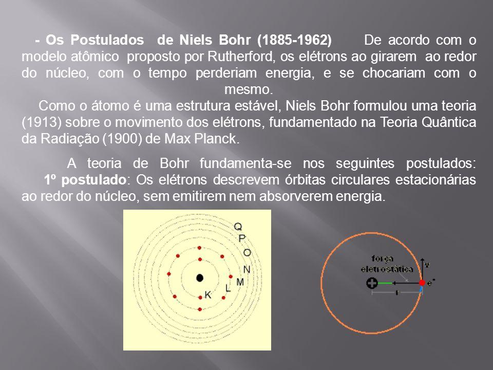 - Os Postulados de Niels Bohr (1885-1962) De acordo com o modelo atômico proposto por Rutherford, os elétrons ao girarem ao redor do núcleo, com o tem