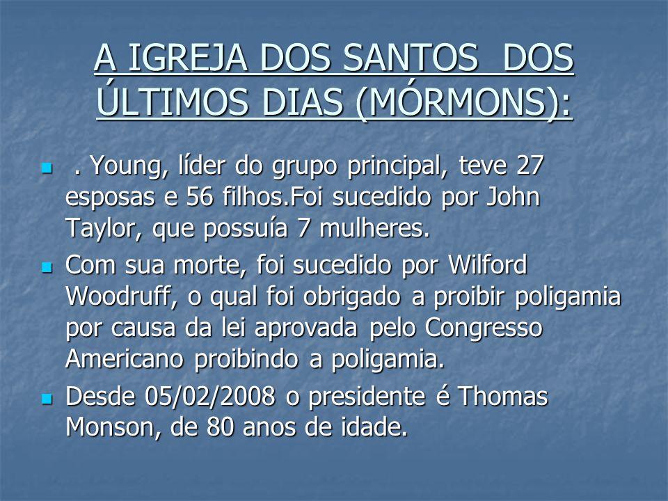 A IGREJA DOS SANTOS DOS ÚLTIMOS DIAS (MÓRMONS):. Young, líder do grupo principal, teve 27 esposas e 56 filhos.Foi sucedido por John Taylor, que possuí