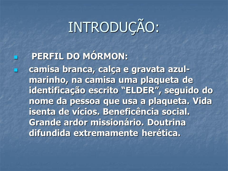 """INTRODUÇÃO: PERFIL DO MÓRMON: PERFIL DO MÓRMON: camisa branca, calça e gravata azul- marinho, na camisa uma plaqueta de identificação escrito """"ELDER"""","""