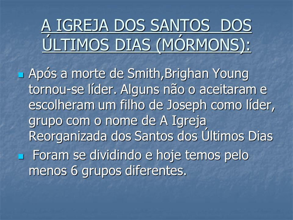 A IGREJA DOS SANTOS DOS ÚLTIMOS DIAS (MÓRMONS): Após a morte de Smith,Brighan Young tornou-se líder. Alguns não o aceitaram e escolheram um filho de J