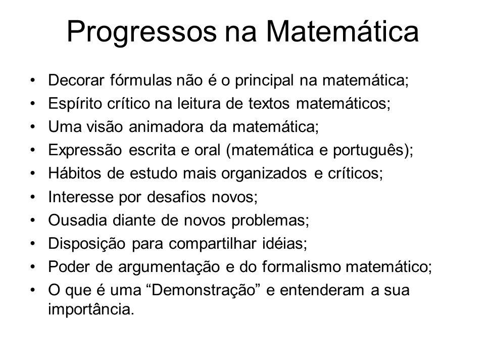 Progressos na Matemática Decorar fórmulas não é o principal na matemática; Espírito crítico na leitura de textos matemáticos; Uma visão animadora da m