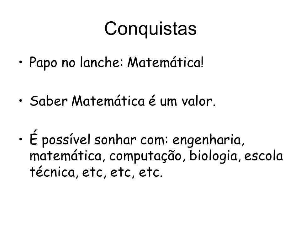 Conquistas Papo no lanche: Matemática! Saber Matemática é um valor. É possível sonhar com: engenharia, matemática, computação, biologia, escola técnic