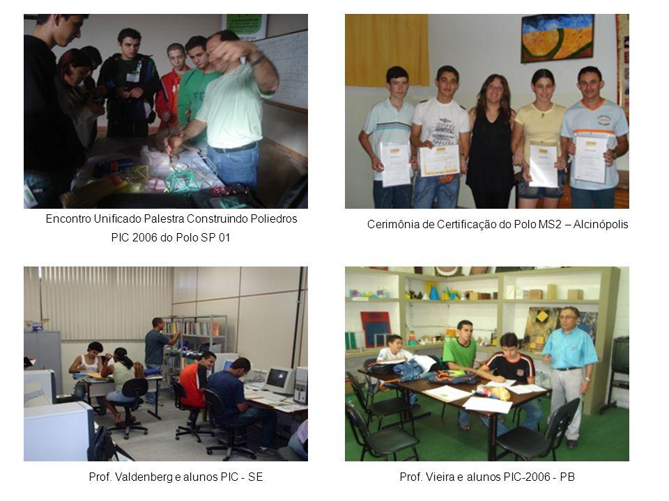 Encontro Unificado Palestra Construindo Poliedros PIC 2006 do Polo SP 01 Cerimônia de Certificação do Polo MS2 – Alcinópolis Prof. Valdenberg e alunos