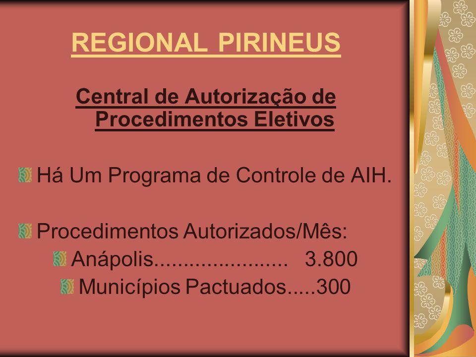 REGIONAL PIRINEUS Central de Autorização de Procedimentos Eletivos Há Um Programa de Controle de AIH. Procedimentos Autorizados/Mês: Anápolis.........