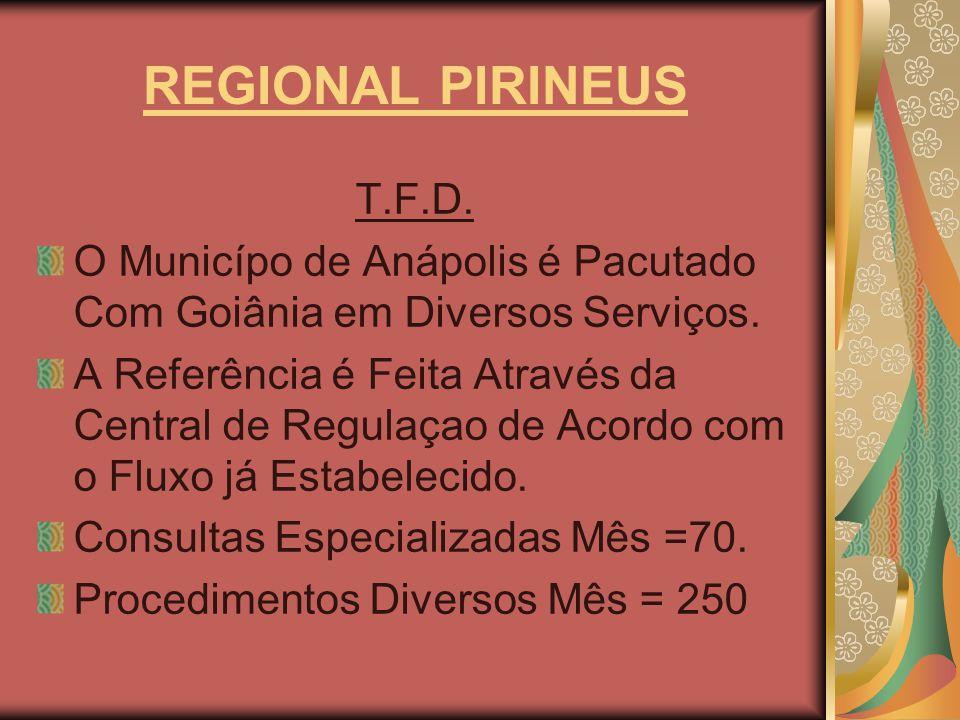 REGIONAL PIRINEUS T.F.D. O Municípo de Anápolis é Pacutado Com Goiânia em Diversos Serviços. A Referência é Feita Através da Central de Regulaçao de A