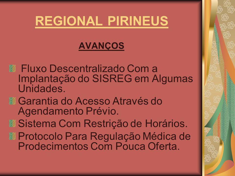 REGIONAL PIRINEUS AVANÇOS Fluxo Descentralizado Com a Implantação do SISREG em Algumas Unidades. Garantia do Acesso Através do Agendamento Prévio. Sis