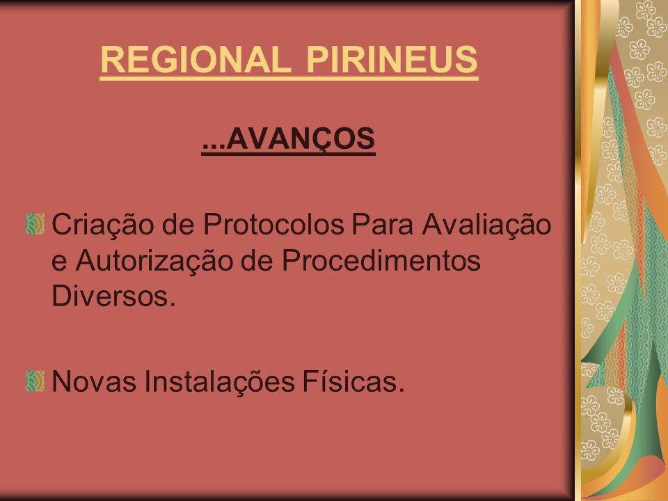 REGIONAL PIRINEUS...AVANÇOS Criação de Protocolos Para Avaliação e Autorização de Procedimentos Diversos. Novas Instalações Físicas.