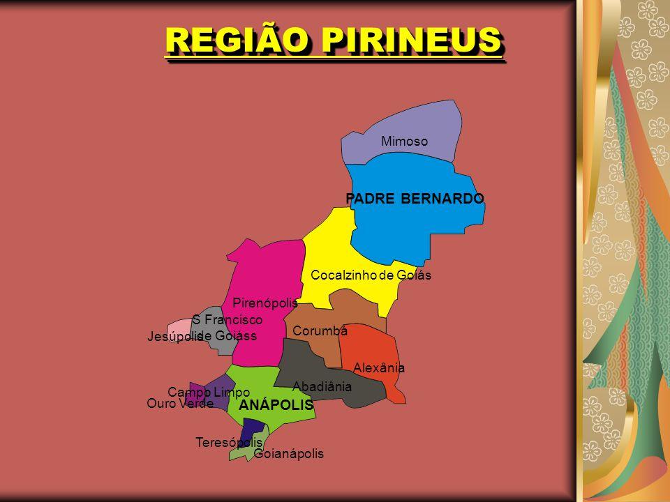 REGIÃO PIRINEUS PADRE BERNARDO Mimoso Pirenópolis Cocalzinho de Goiás Corumbá Alexânia ANÁPOLIS Abadiânia Ouro Verde Teresópolis Goianápolis Campo Lim