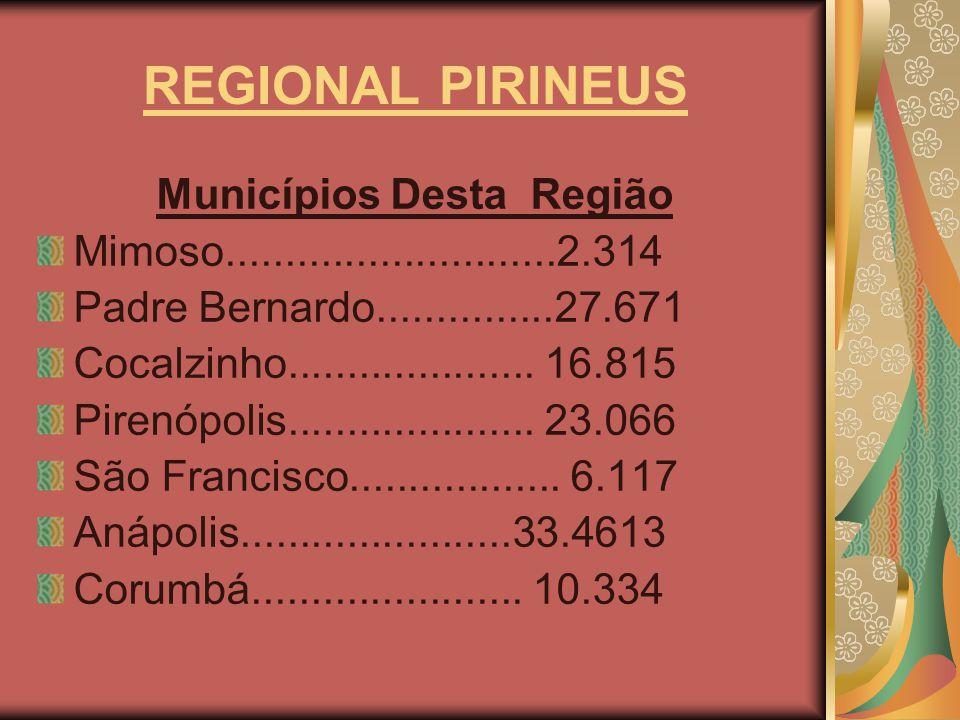 REGIONAL PIRINEUS Municípios Desta Região Mimoso............................2.314 Padre Bernardo...............27.671 Cocalzinho.....................