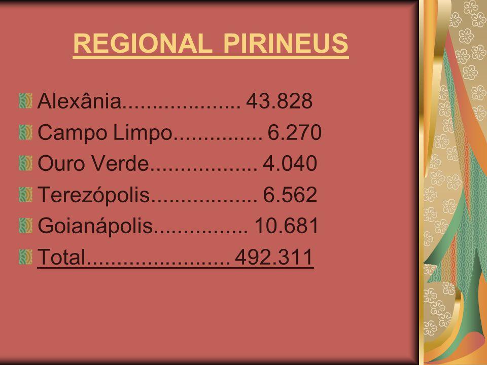 REGIONAL PIRINEUS Alexânia.................... 43.828 Campo Limpo............... 6.270 Ouro Verde.................. 4.040 Terezópolis.................