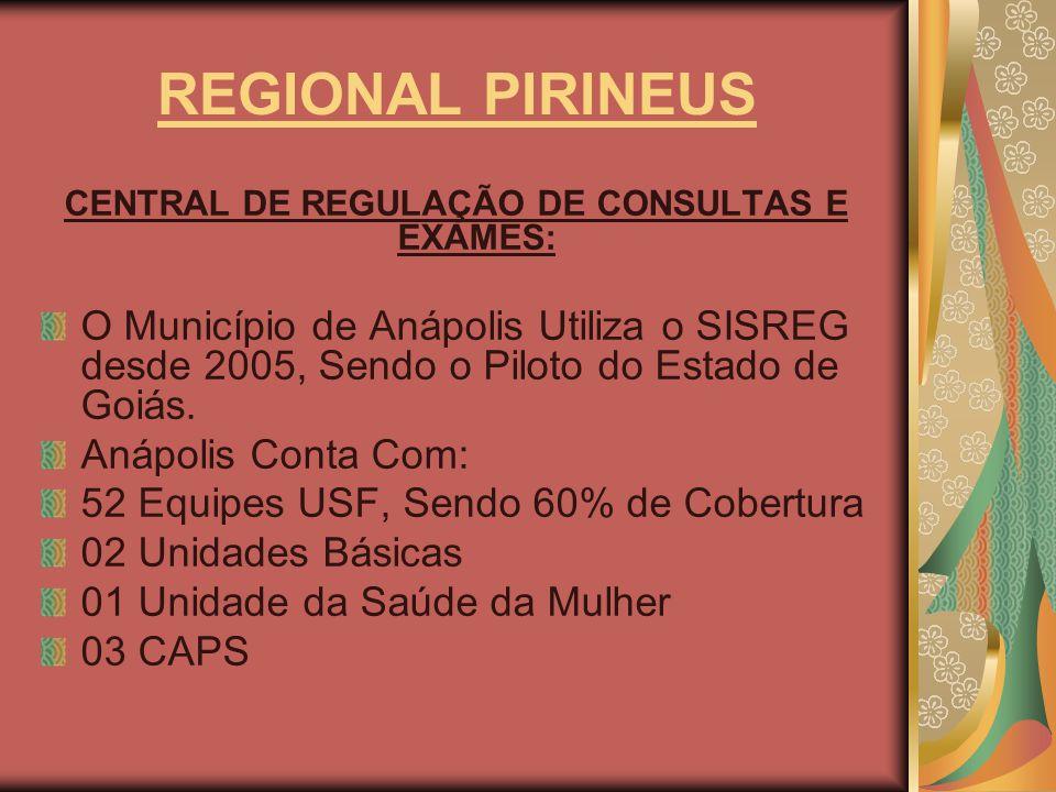 REGIONAL PIRINEUS CENTRAL DE REGULAÇÃO DE CONSULTAS E EXAMES: O Município de Anápolis Utiliza o SISREG desde 2005, Sendo o Piloto do Estado de Goiás.