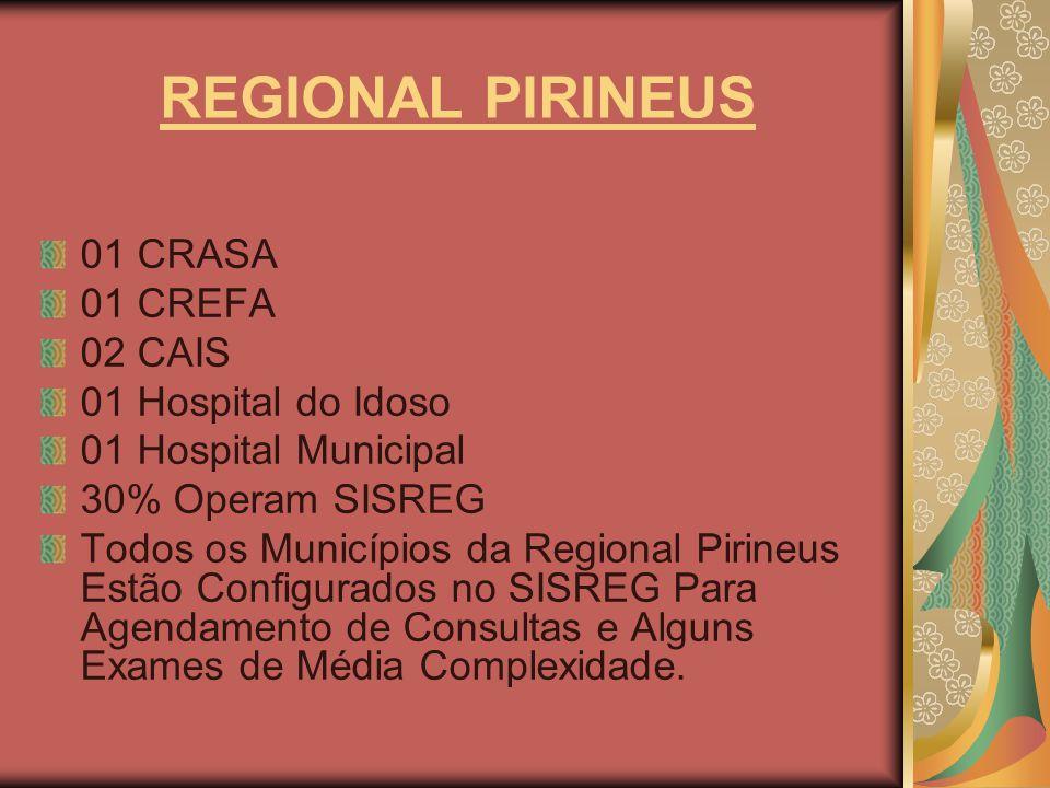 REGIONAL PIRINEUS 01 CRASA 01 CREFA 02 CAIS 01 Hospital do Idoso 01 Hospital Municipal 30% Operam SISREG Todos os Municípios da Regional Pirineus Estã