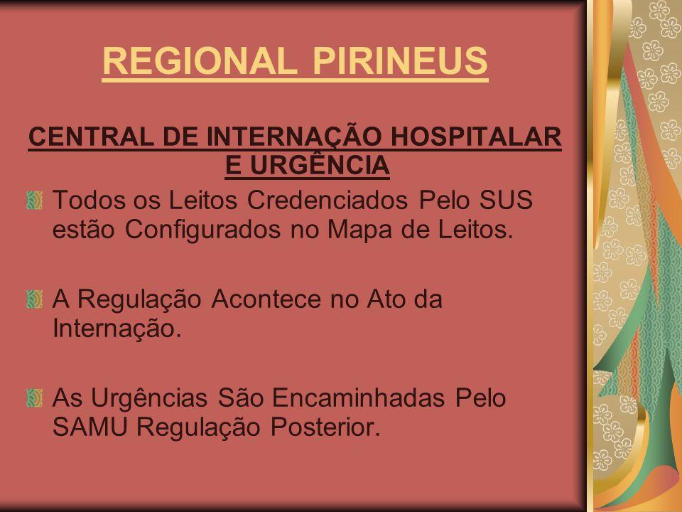 REGIONAL PIRINEUS CENTRAL DE INTERNAÇÃO HOSPITALAR E URGÊNCIA Todos os Leitos Credenciados Pelo SUS estão Configurados no Mapa de Leitos. A Regulação