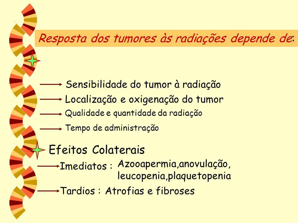 Resposta dos tumores às radiações depende de: Sensibilidade do tumor à radiação Localização e oxigenação do tumor Qualidade e quantidade da radiação T